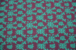 Hapilu Wollstrickstoff Blumen Grün/Pflaume