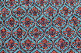 Hapilu Wollstrickstoff Marrakesch Rot/Mitternachtsblau/Türkis