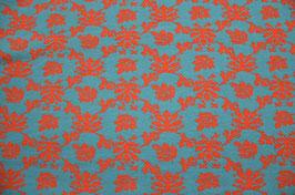 Hapilu Wollstrickstoff Blumen Orange/Türkis