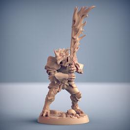 Draconoid Krieger mit 2-H Flammenschwert