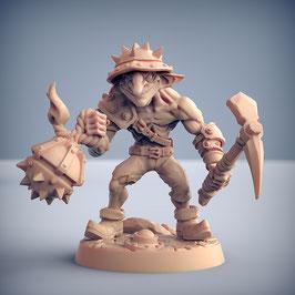 Goblin Minenräuber mit Spitzhacke und Brandbombe