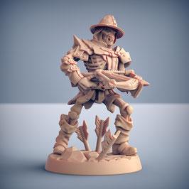 Skelettkrieger mit Armbrust und Helm
