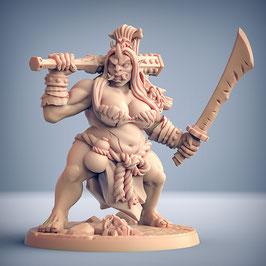 Oni Dämonin mit schwerer Keule und Langschwert