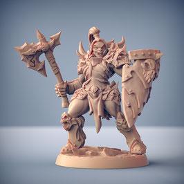 Frostclan Ork Kriegerin mit Axt und Schild