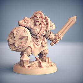 Zwergin Kämpferin mit Schwert und Schild