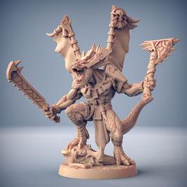Xoltoa Echsenmensch Held mit zwei Handwaffen