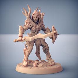 Waldelf Kriegerin mit Schwert und Schild