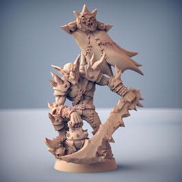 Dzwingo der Große Goblin Held mit schwerem Schlachtschwert und Brandbombe