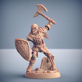 Skelettkrieger mit Axt und Schild