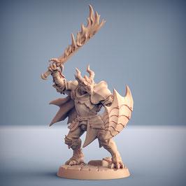 Draconoid Krieger mit Flammenschwert und Schild