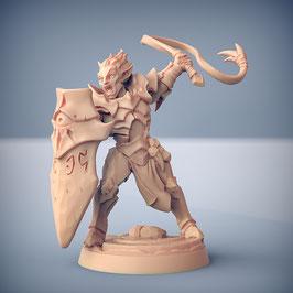 Dunkelelf Krieger mit Peitsche und Schild