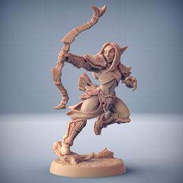 Waldelf Kriegerin mit Pfeil und Bogen