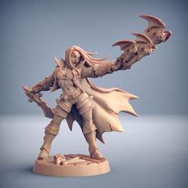 Vampir Kämpferin mit Fledermausschwarm