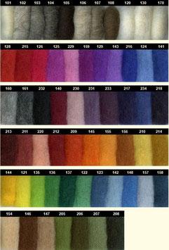 Alpenwolle im Vlies, 50 gr. verschiedene Farben