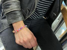 Armband Hippy Style, Armschmuck, Sammelarmband, Perle Katsuki, 6mm, auf Flexiblem Band