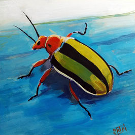"striped beetle, acrylic on panel, 5""x5"""