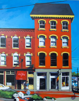 "Fore St #2, acrylic on wood, 16""x20""x1"", 2011"