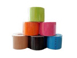 10 Stück Non Dolens Tape, hochwertiges Kinesiotape auf der Rolle 5cm x 5m; in den Farben Beige, Schwarz, Blau, Orange, Pink und Grün