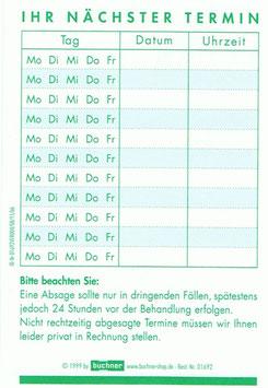 Terminkarte mit Wochentag in der Spenderbox; 250 St.