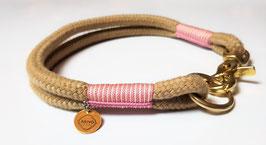 """Halsband Classic """"SC Beige & Lavender Pink/ Cream"""" 2-fach gelegt"""