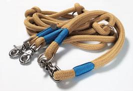 Set Spun Cord Beige III - Leine 3-fach verstellbar & Halsband wählbar