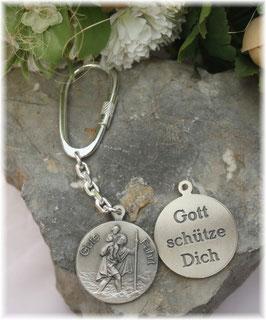 Gute Fahrt + Gott schütze Dich, Schlüsselanhänger, heiliger Christophorus