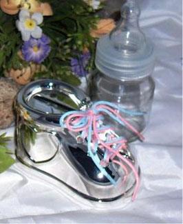Babyschuh, versilberte Spardose für Jungen und Mädchen, Schnürsenkel in blau und rosa