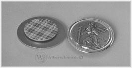 Autoplakette massiv Sterlingsilber 925, heiliger Christophorus Schutzpatron, breiter Rand