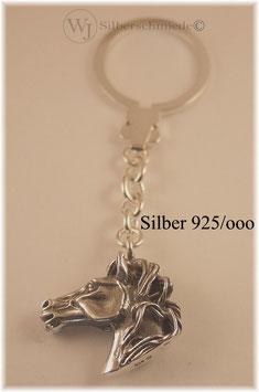 Pferdekopf  Schlüsselanhänger Silber 925 massiv