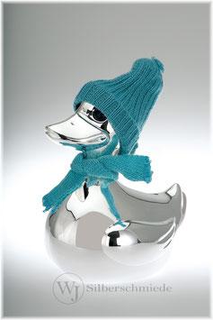 Ente mit Schal und Mütze, Spardose versilbert, für Jungen und Mädchen in blau und rosa