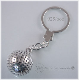 großer Golfball Schlüsselanhänger Sterlingsilber 925