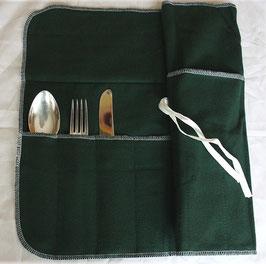 Besteckrolle, in drei Größen: Besteckaufbewahrung mit Anlaufschutz in Wickeltasche, mittlere Variante Höhe 24 cm