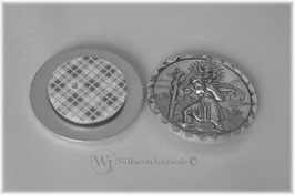 Autoplakette massiv Sterlingsilber 925, heiliger Christophorus Schutzpatron, Rand diamantiert