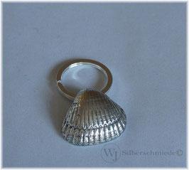 Muschel an Spaltring, Schlüsselanhänger Silber 925