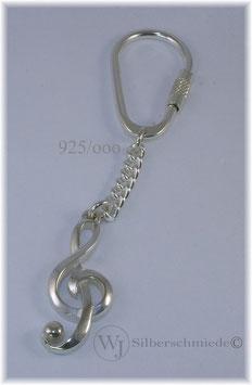 Notenschlüssel Violinschlüssel Schlüsselanhänger-  Silber 925
