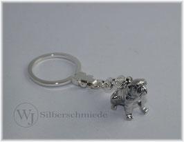 Mops Schlüsselanhänger Sterling-Silber 925
