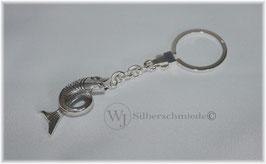 Fisch Schlüsselanhänger an Omega-Verschluss, Sterlingsilber