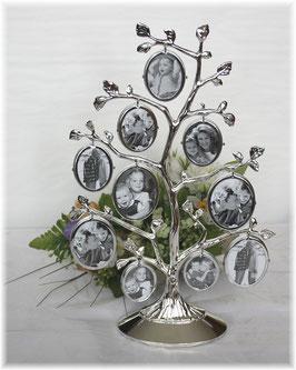 Stammbaum versilbert, mit 10 Foto-Rähmchen, anlaufgeschützt