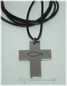 Edelstahl-Kreuz Anhänger mit Fisch-Symbol an Lederband