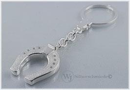 großes Hufeisen Schlüsselanhänger Silber 925
