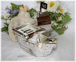 Piratenschiff versilbert, Spardose mit Gravurplatte