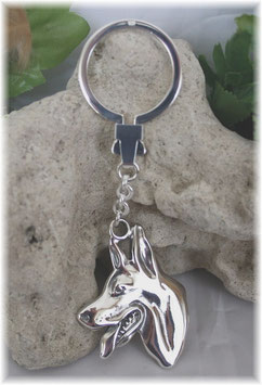 Schäferhund Hundekopf Schlüsselanhänger Silber 925