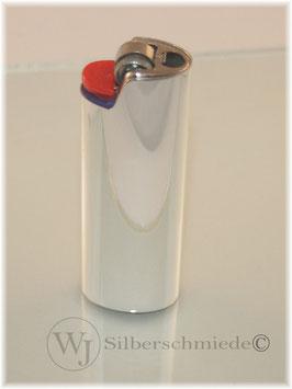 BIC - Feuerzeug, Hülse versilbert, Gravur möglich