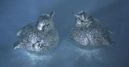 Salz- / Pfefferstreuer zwei Spatzen, versilbert