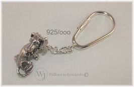Dackel, Rauhhaardackel sitzend,  Schlüsselanhänger Sterling-Silber 925
