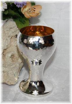 Becher - Pokal versilbert mit Hammerschlag und Innenvergoldung