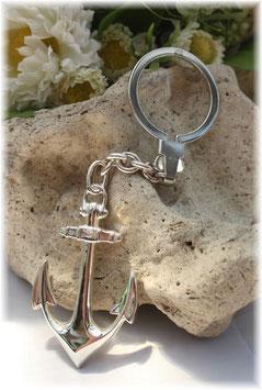 großer Anker, Schlüsselanhänger mit Omegaverschluss Silber 925