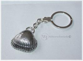 Muschel massiv, Schlüsselanhänger Silber 925 mit Omegaverschluss