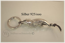Chamäleon mit Spaltring, Sterling-Silber, Lederband