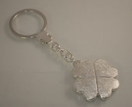 Kleeblatt massiv, Schlüsselanhänger Silber mit Omegaverschluss